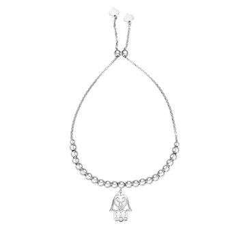 Sterling Silver Hamsa Dangle Friendship Bracelet