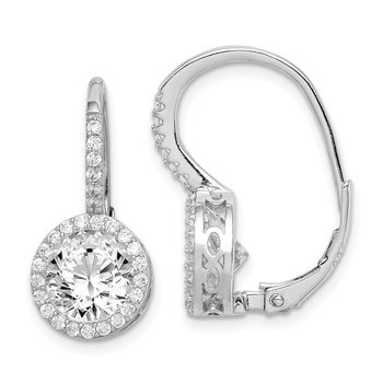 Sterling Silver Rhodium-plated CZ Round Cut Leverback Earrings