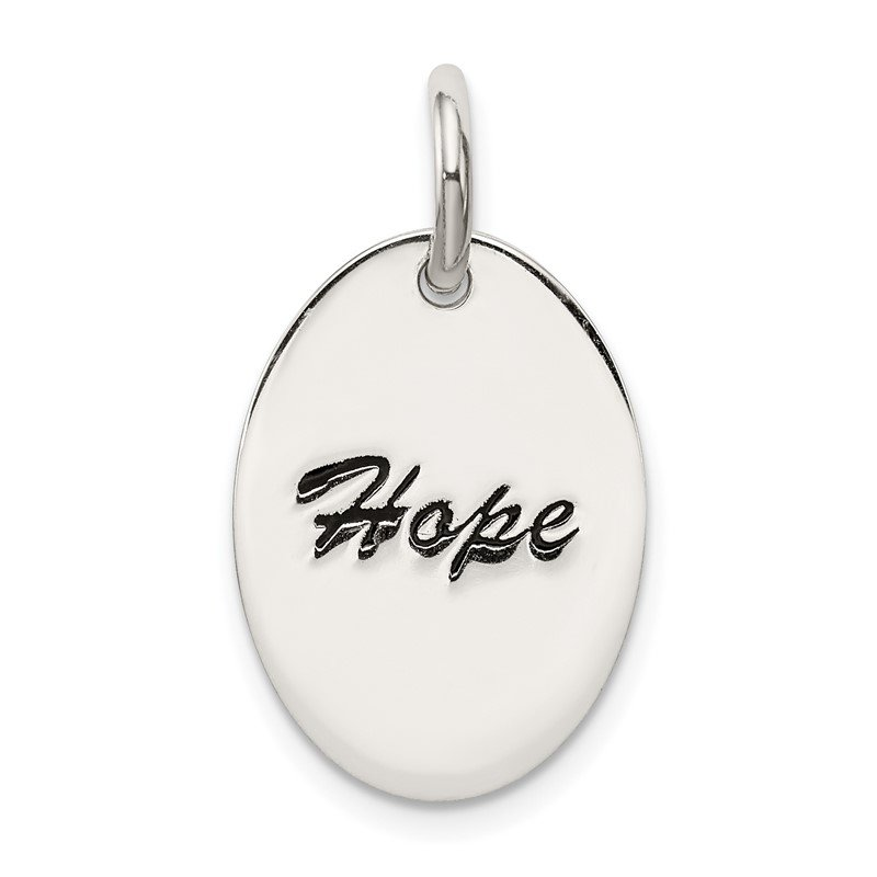 Quality Gold Sterling Silver Polished Enamel Hope Pendant