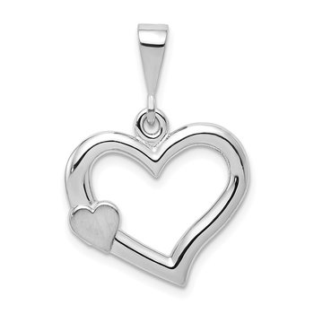 14k White Gold Solid Satin Polished Fancy 3D Heart Pendant