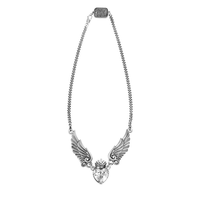 King Baby Crowned Heart W/ Wings Necklace On Curb Chain 16