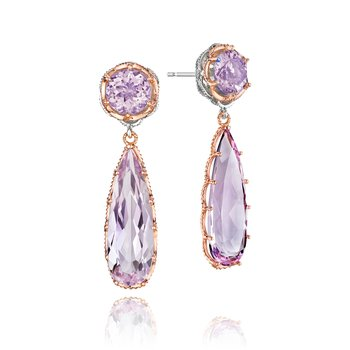 Amethyst and Rose Amethyst Drop Earrings