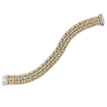 18Kt Gold 3 Row Bracelet With Diamonds