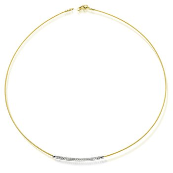 14K-Y WIRE NECK SET WITH DIA. 0.20CT.