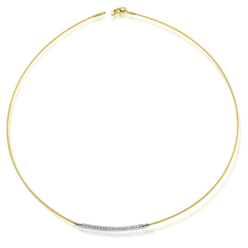 Vivid Jewelers 14K-Y WIRE NECK SET WITH DIA. 0.20CT.