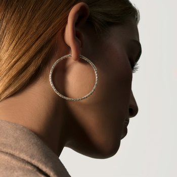 Classic Chain Silver Large Hoop Earrings in Silver