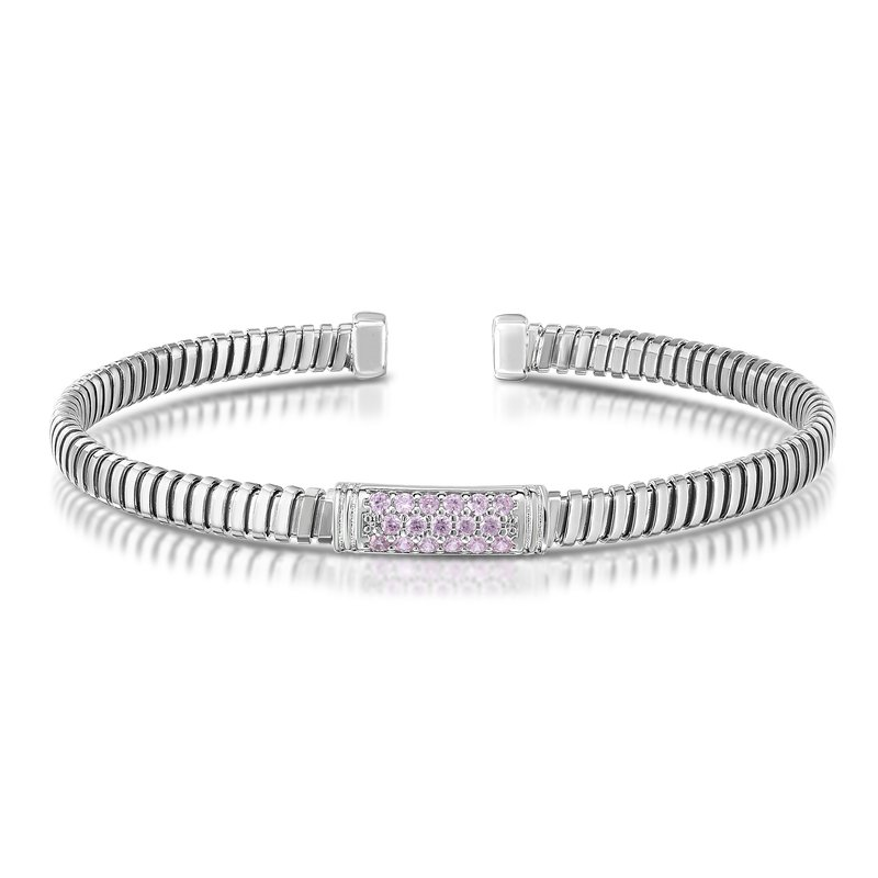 Royal Chain Silver Tubogas Baby Pink CZ Cuff