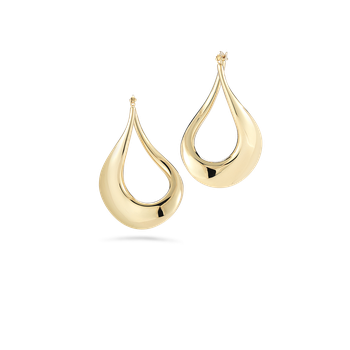 18KT GOLD CURVED HOOP EARRINGS