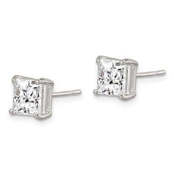 Sterling Silver 6mm Princess Basket Set CZ Stud Earrings