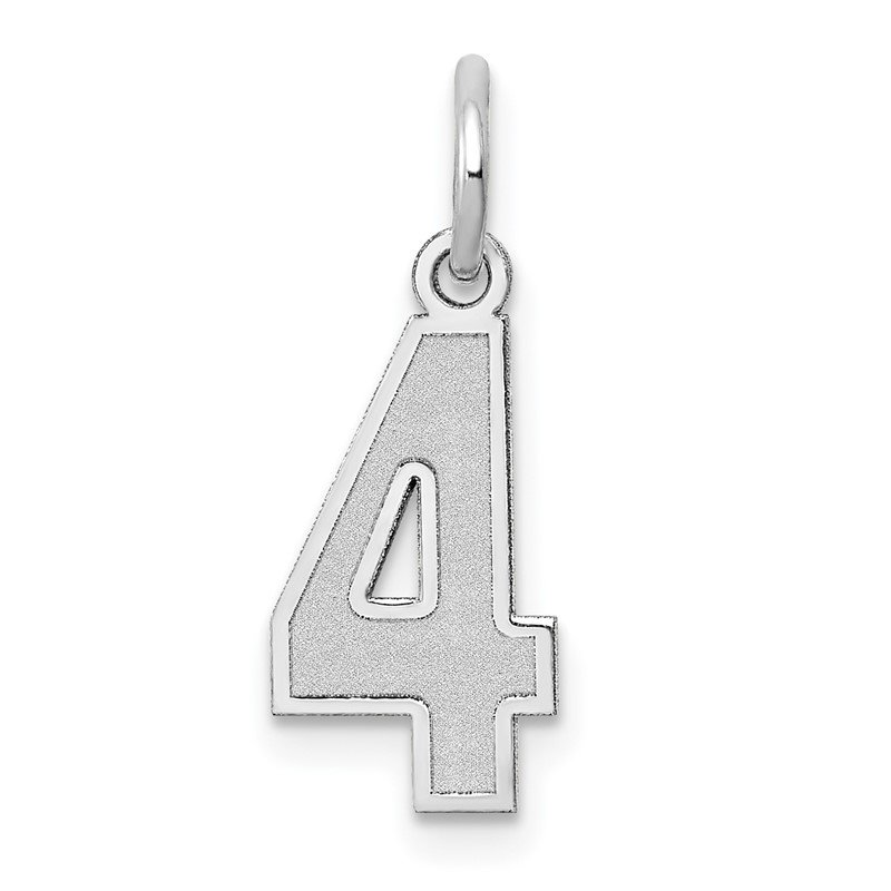Quality Gold 14k White Gold Small Satin Number 4 Charm