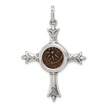 Sterling Silver Ancient Coins Antiqued Widow's Mite Coin Cross Pendant
