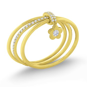 Diamond Lucky Charm Flower Ring Set in 14 Kt. Gold