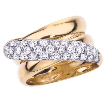 Two-Tone Fashion Band with Diamonds
