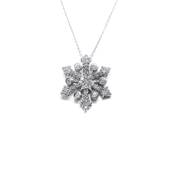 18Kt Gold Snowflake Pendant With Diamonds