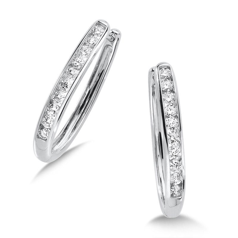 SDC Creations Channel set Diamond Oval Hoops in 14k White Gold (1/2 ct. tw.) HI/SI2-SI3