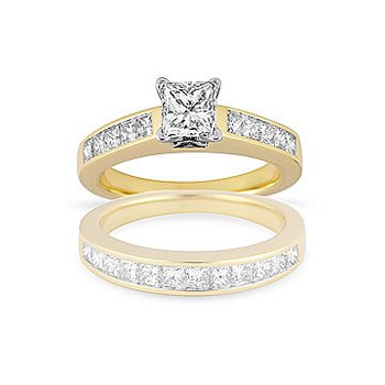 18K YG Diamond Engagement Ring in Princess Cut Diamonds