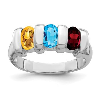 Sterling Silver Rhodium-plated w/Garnet, Blue Topaz & Citrine Ring