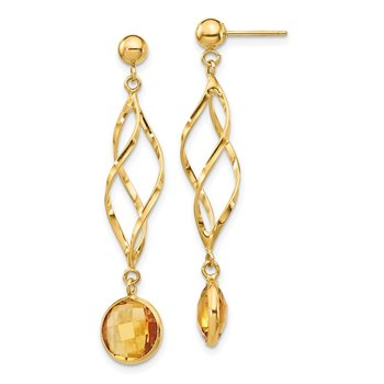 14K Citrine Swirl Post Earrings
