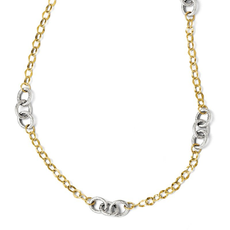 Leslie's Leslie's 14K Two-tone Polished & Textured w/2in ext. Necklace