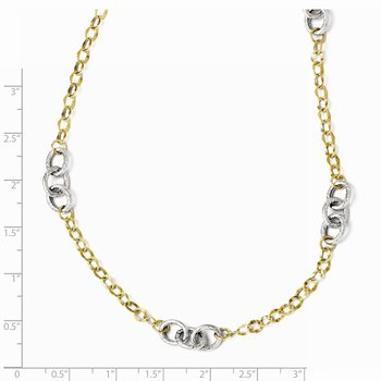 Leslie's 14K Two-tone Polished & Textured w/2in ext. Necklace