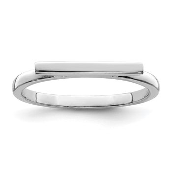 Sterling Silver Rhodium-plated Polished Bar Ring