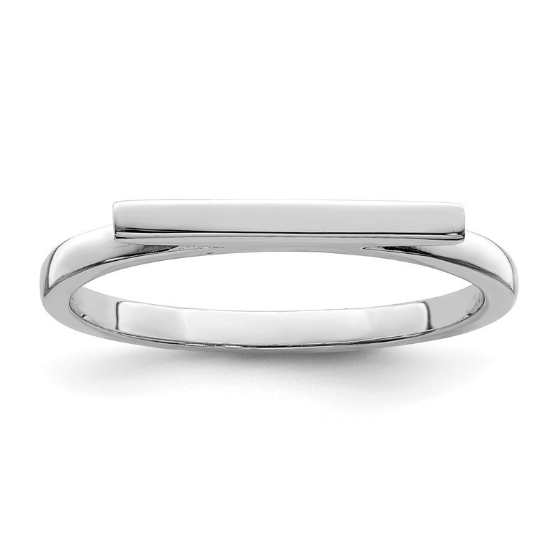 Quality Gold Sterling Silver Rhodium-plated Polished Bar Ring