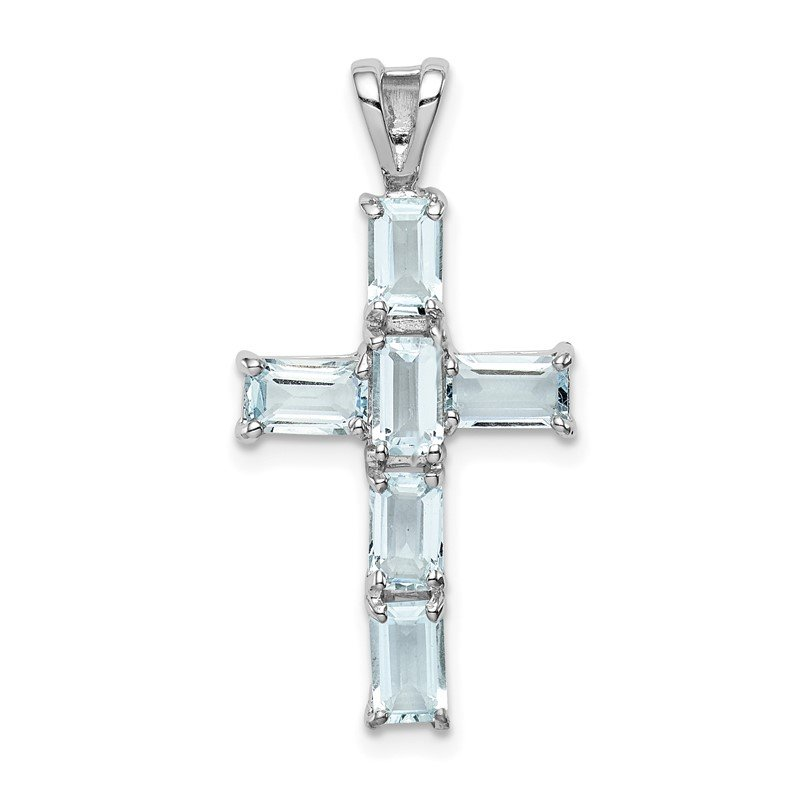 Quality Gold Sterling Silver Rhodium Plated Aquamarine Cross Pendant