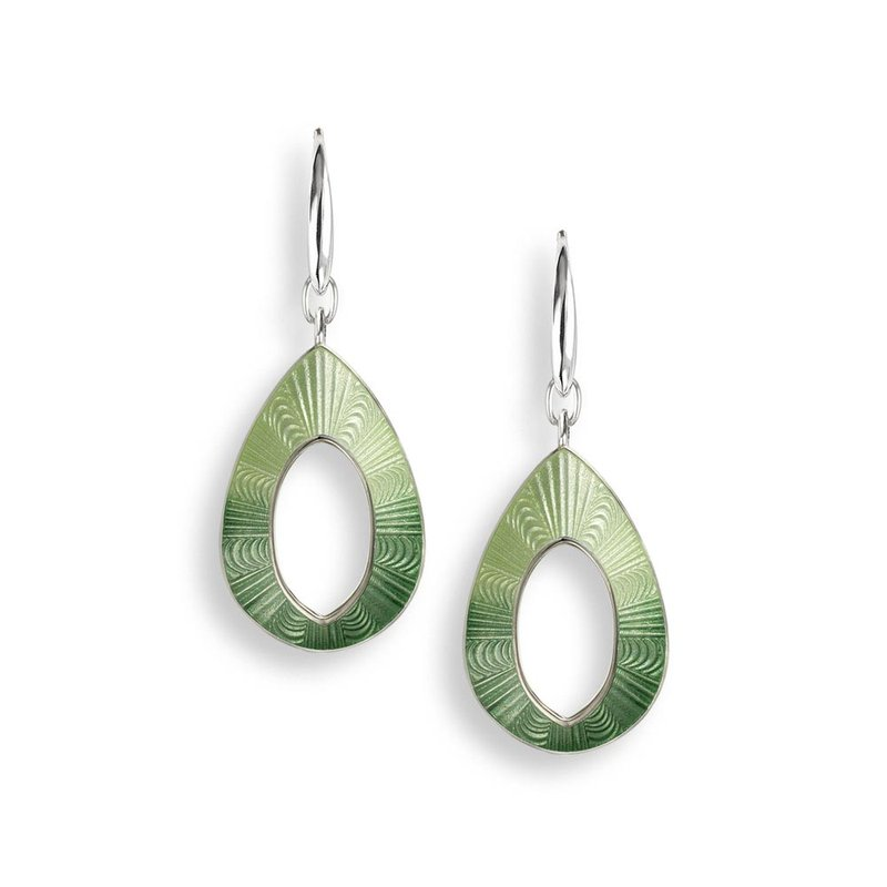 Nicole Barr Designs Green Teardrop Wire Earrings.Sterling Silver