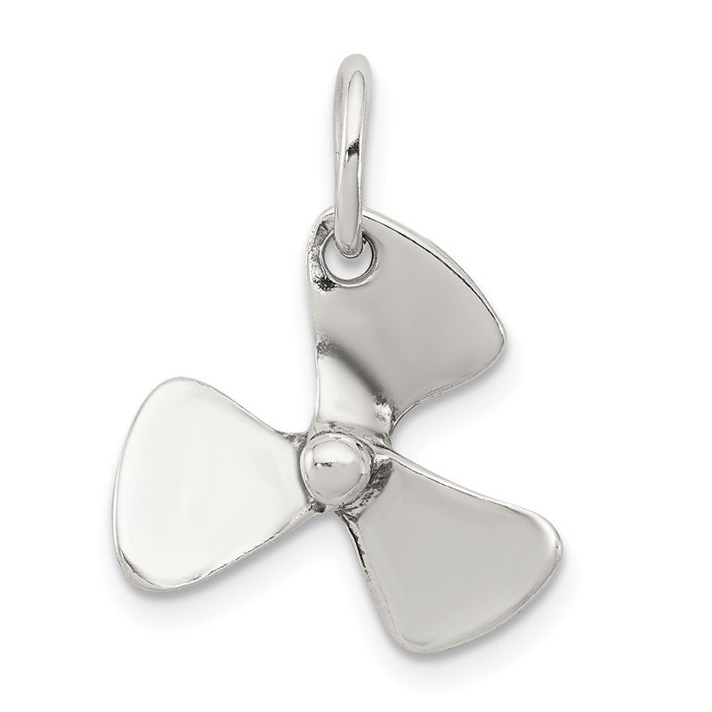 Quality Gold Sterling Silver 3D Antiqued Boat Propeller Charm