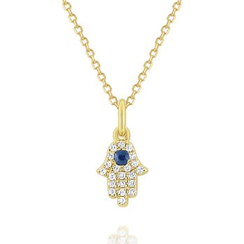 14k Gold, Diamond and Blue Sapphire Hamsa Necklace