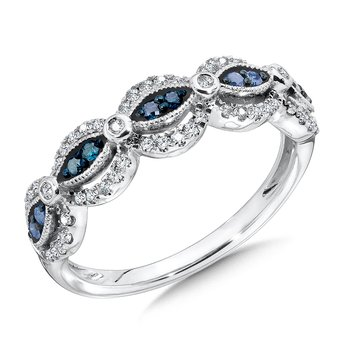 Pave set,  Blue and White Diamond Fashion Ring set in 14k White Gold (1/3 ct. tw.)