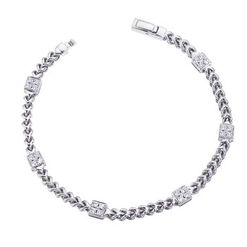 White Gold Braided Bracelet with Diamond Squares
