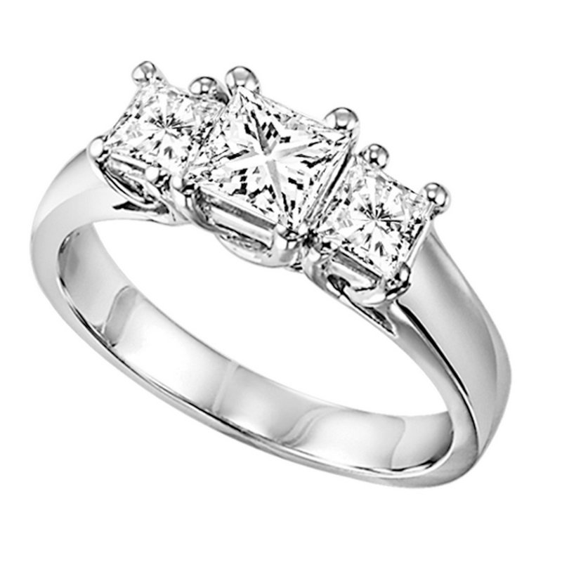 Gemsone 14K P/Cut Diamond 3 Stone Ring 1 1/ 2 ctw