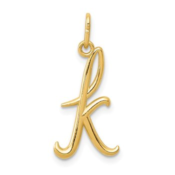 14k Yellow Gold Letter K Initial Charm