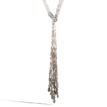 Legends Naga Lariat Necklace in Silver, Gemstone, Diamonds