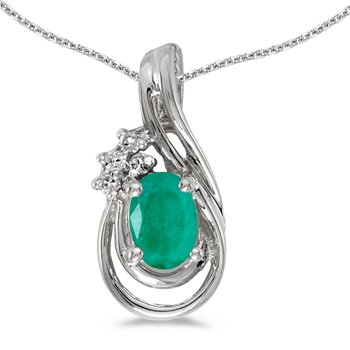 14k White Gold Oval Emerald And Diamond Teardrop Pendant