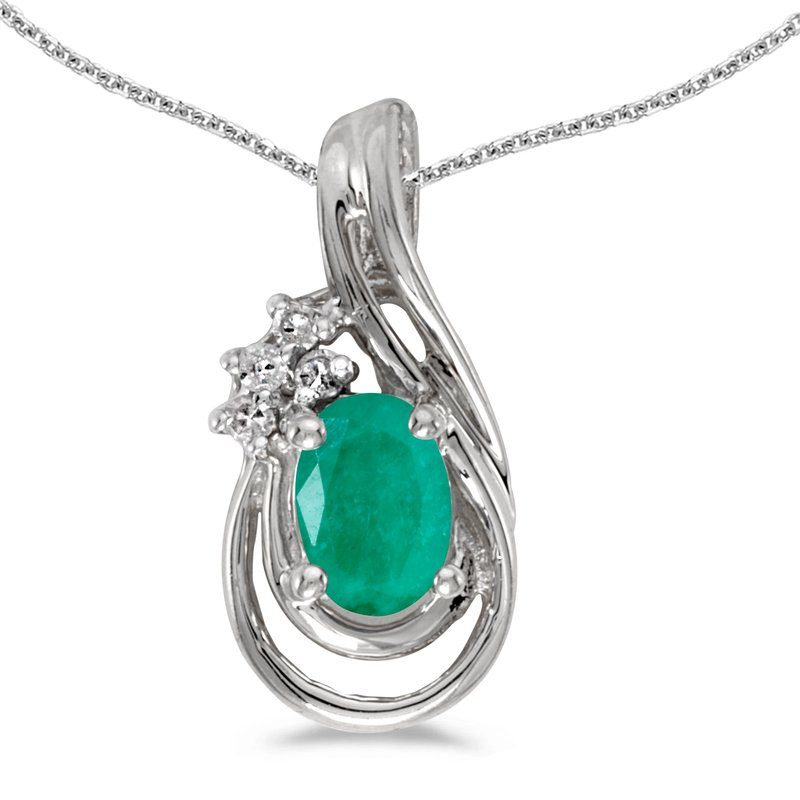 Color Merchants 14k White Gold Oval Emerald And Diamond Teardrop Pendant