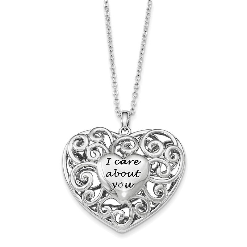 Quality Gold Sterling Silver Antiqued Heart Of Support 18in. Necklace
