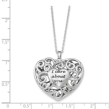 Sterling Silver Antiqued Heart Of Support 18in. Necklace
