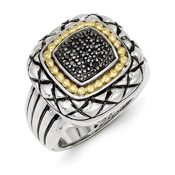 Sterling Silver w/14k Black Diamond Ring