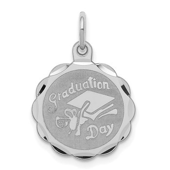 Sterling Silver Rhodium-plated Graduation Day Disc Charm