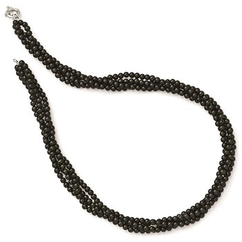 Sterling S Majestik Rh-pl 4 Row 4-5mm Blk Imitat Shell Pearl Twisted Neck