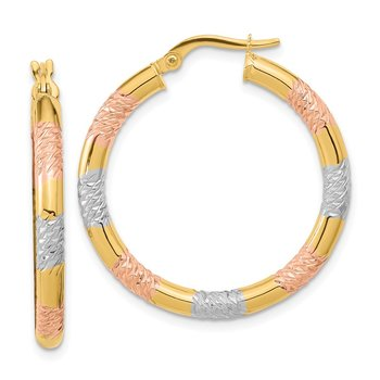 14k with Rose and White Rhodium Diamond-cut 3.0mm Hoop Earrings