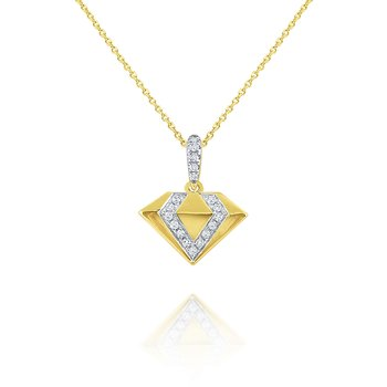 14k Gold Diamond Shape Necklace