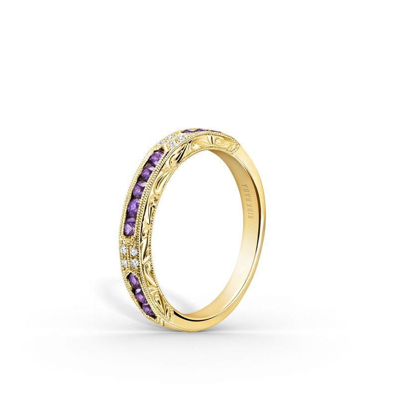 Amethyst Diamond Engraved Wedding Band