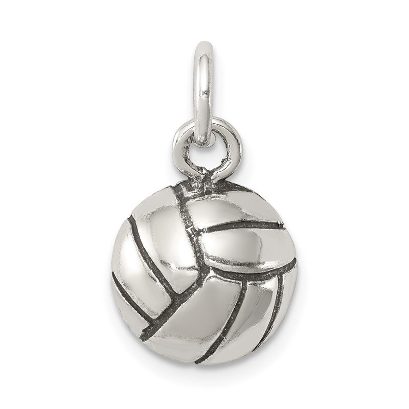 Quality Gold Sterling Silver Antiqued Volleyball Charm
