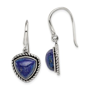 Sterling Silver Polished/Antiqued Lapis Cabochon Earrings
