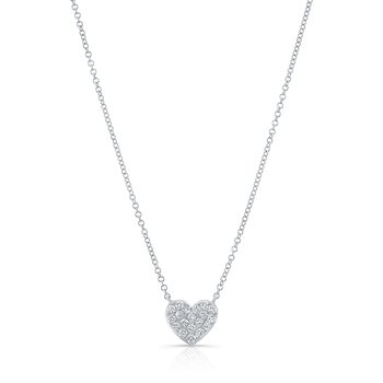 White Gold Pave Heart Necklace