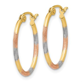 14K & White and Rose Rhodium Diamond Cut Hoop Earrings