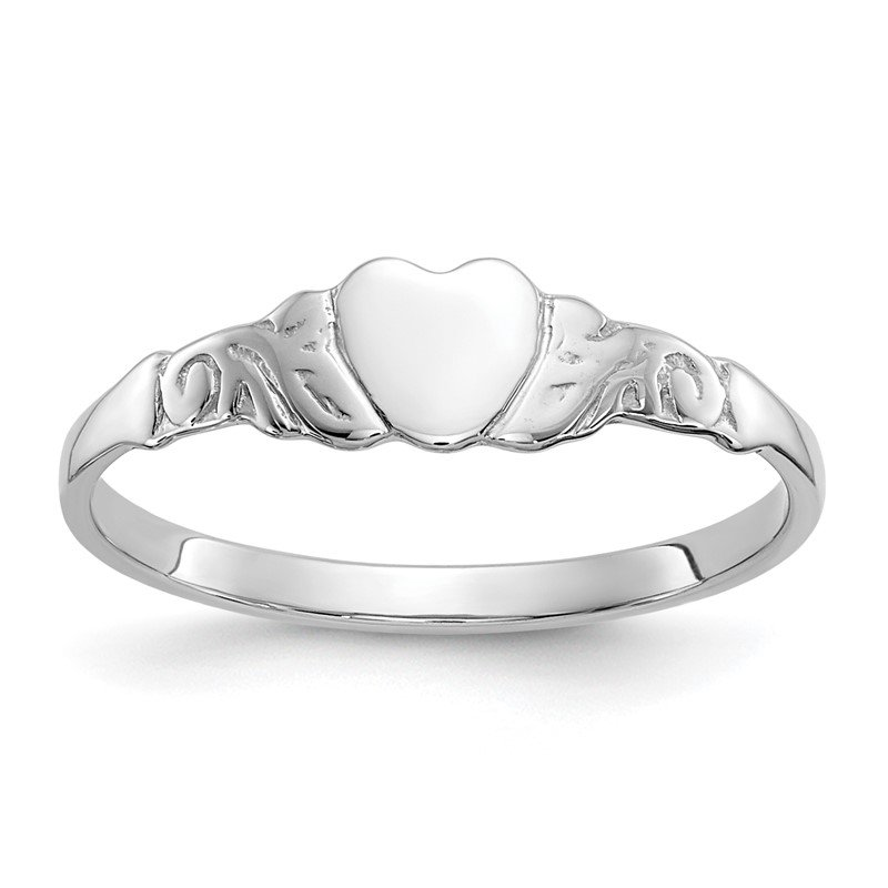 Quality Gold 10k White Gold Heart Ring